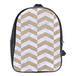 CHEVRON2 WHITE MARBLE & SAND School Bag (Large) Front