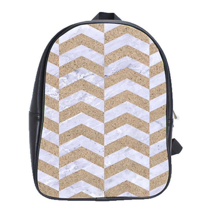 CHEVRON2 WHITE MARBLE & SAND School Bag (Large)