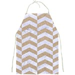 CHEVRON2 WHITE MARBLE & SAND Full Print Aprons Front