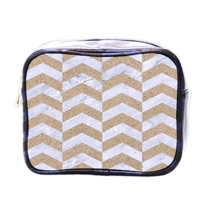 CHEVRON2 WHITE MARBLE & SAND Mini Toiletries Bags