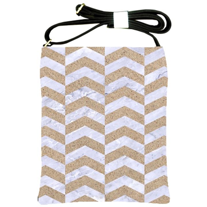 CHEVRON2 WHITE MARBLE & SAND Shoulder Sling Bags