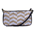 CHEVRON2 WHITE MARBLE & SAND Shoulder Clutch Bags Front