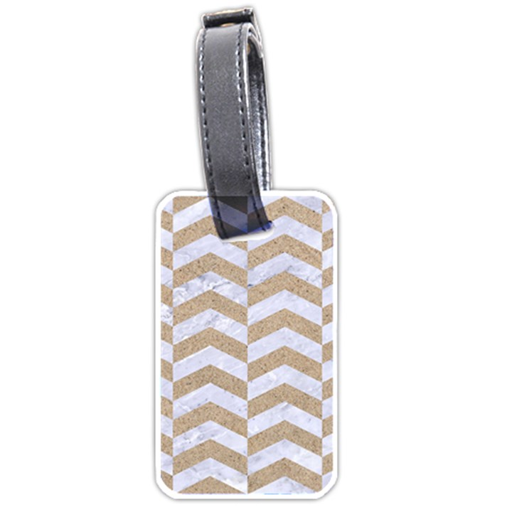CHEVRON2 WHITE MARBLE & SAND Luggage Tags (One Side)