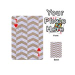 CHEVRON2 WHITE MARBLE & SAND Playing Cards 54 (Mini)  Front - Heart7