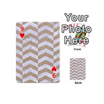 CHEVRON2 WHITE MARBLE & SAND Playing Cards 54 (Mini)  Front - Heart9