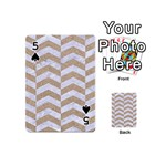 CHEVRON2 WHITE MARBLE & SAND Playing Cards 54 (Mini)  Front - Spade5