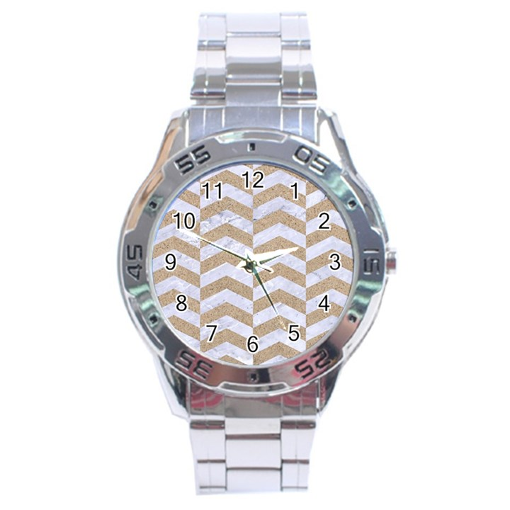 CHEVRON2 WHITE MARBLE & SAND Stainless Steel Analogue Watch