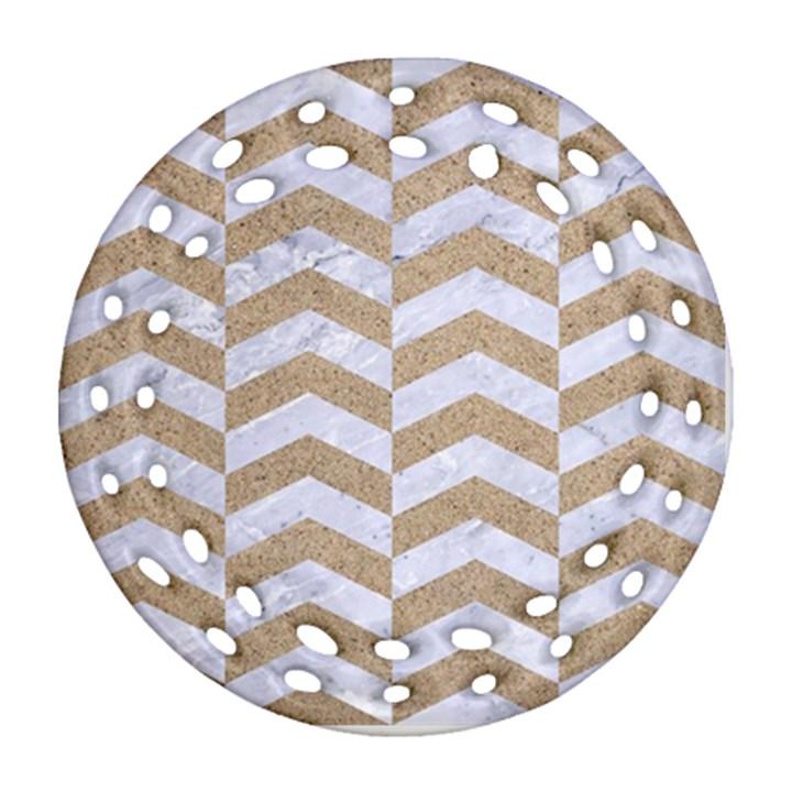 CHEVRON2 WHITE MARBLE & SAND Ornament (Round Filigree)