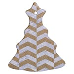 CHEVRON2 WHITE MARBLE & SAND Christmas Tree Ornament (Two Sides) Front