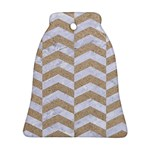 CHEVRON2 WHITE MARBLE & SAND Bell Ornament (Two Sides) Front