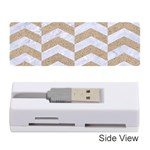 CHEVRON2 WHITE MARBLE & SAND Memory Card Reader (Stick)  Front