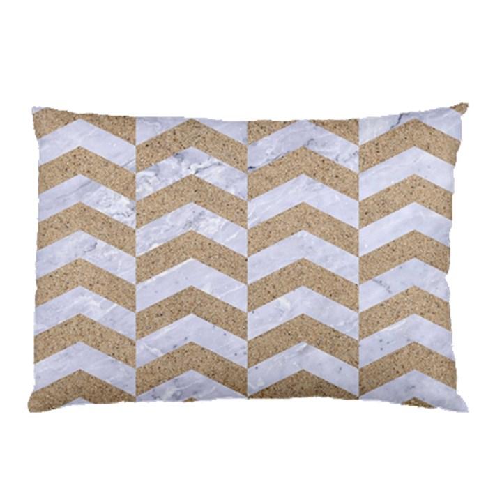 CHEVRON2 WHITE MARBLE & SAND Pillow Case (Two Sides)