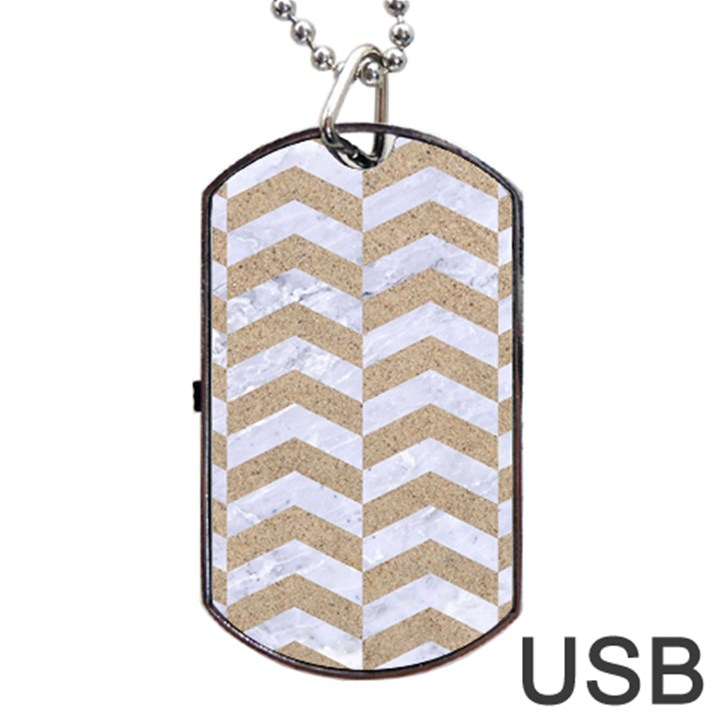 CHEVRON2 WHITE MARBLE & SAND Dog Tag USB Flash (One Side)
