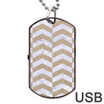 CHEVRON2 WHITE MARBLE & SAND Dog Tag USB Flash (Two Sides) Front