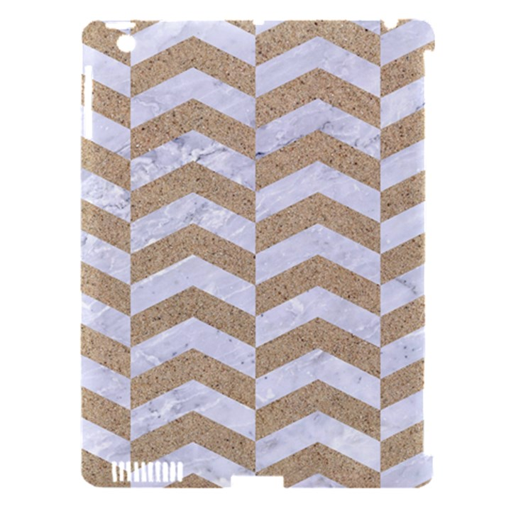 CHEVRON2 WHITE MARBLE & SAND Apple iPad 3/4 Hardshell Case (Compatible with Smart Cover)