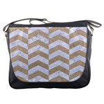 CHEVRON2 WHITE MARBLE & SAND Messenger Bags Front