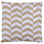 CHEVRON2 WHITE MARBLE & SAND Large Cushion Case (One Side) Front