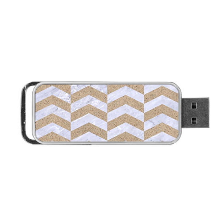 CHEVRON2 WHITE MARBLE & SAND Portable USB Flash (One Side)