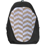 CHEVRON2 WHITE MARBLE & SAND Backpack Bag Front