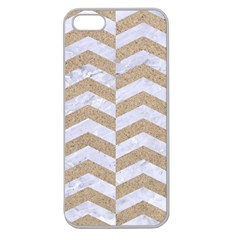 Chevron2 White Marble & Sand Apple Seamless Iphone 5 Case (clear)