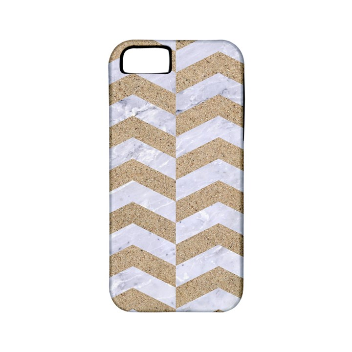 CHEVRON2 WHITE MARBLE & SAND Apple iPhone 5 Classic Hardshell Case (PC+Silicone)