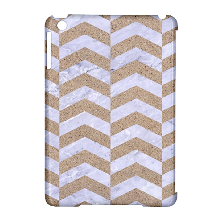 CHEVRON2 WHITE MARBLE & SAND Apple iPad Mini Hardshell Case (Compatible with Smart Cover)