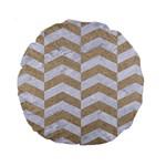 CHEVRON2 WHITE MARBLE & SAND Standard 15  Premium Round Cushions Front