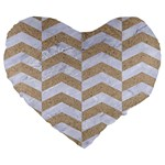 CHEVRON2 WHITE MARBLE & SAND Large 19  Premium Heart Shape Cushions Front