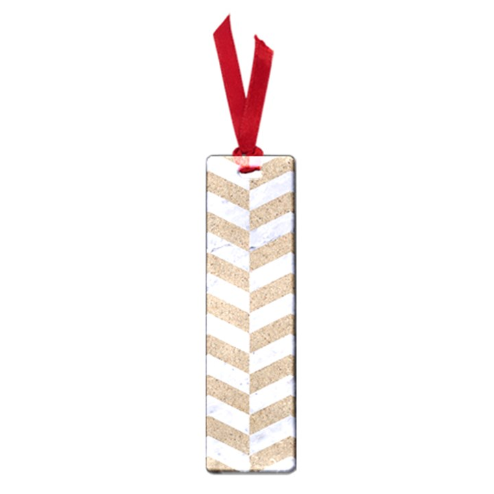 CHEVRON2 WHITE MARBLE & SAND Small Book Marks