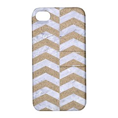 Chevron2 White Marble & Sand Apple Iphone 4/4s Hardshell Case With Stand