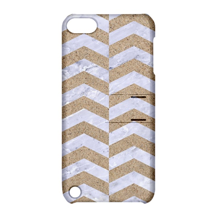 CHEVRON2 WHITE MARBLE & SAND Apple iPod Touch 5 Hardshell Case with Stand