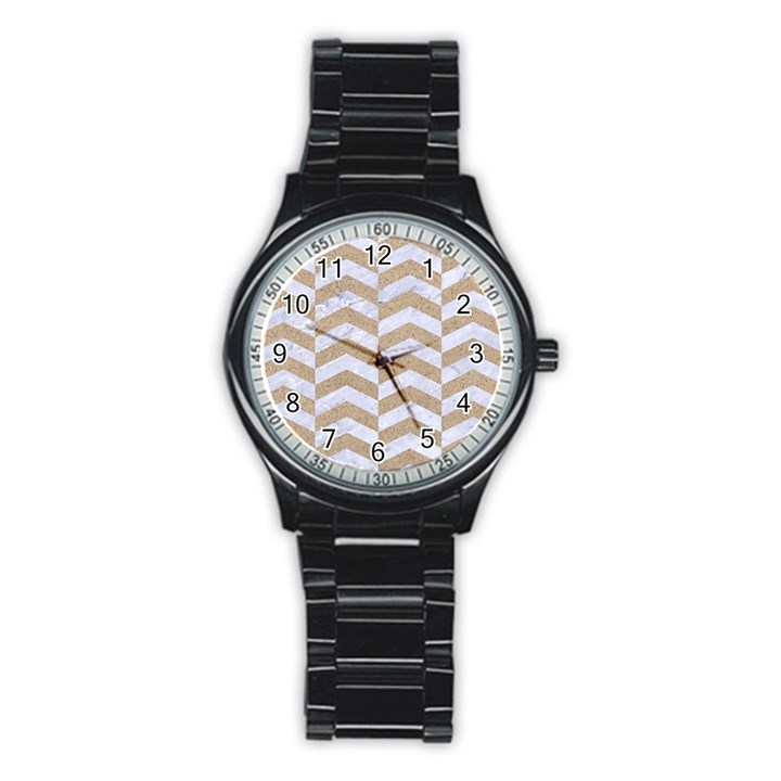 CHEVRON2 WHITE MARBLE & SAND Stainless Steel Round Watch