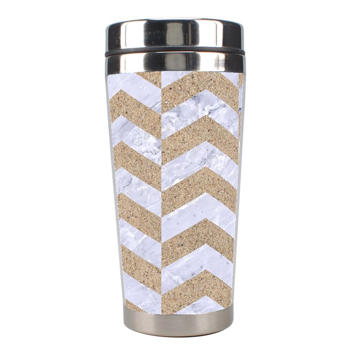 CHEVRON2 WHITE MARBLE & SAND Stainless Steel Travel Tumblers