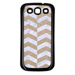 CHEVRON2 WHITE MARBLE & SAND Samsung Galaxy S3 Back Case (Black) Front