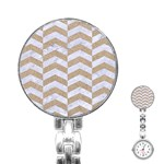 CHEVRON2 WHITE MARBLE & SAND Stainless Steel Nurses Watch Front
