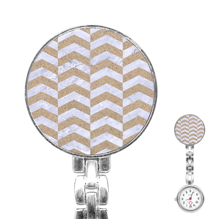 CHEVRON2 WHITE MARBLE & SAND Stainless Steel Nurses Watch