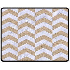 Chevron2 White Marble & Sand Double Sided Fleece Blanket (medium)