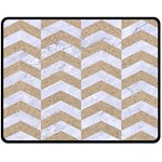 CHEVRON2 WHITE MARBLE & SAND Double Sided Fleece Blanket (Medium)  58.8 x47.4 Blanket Back
