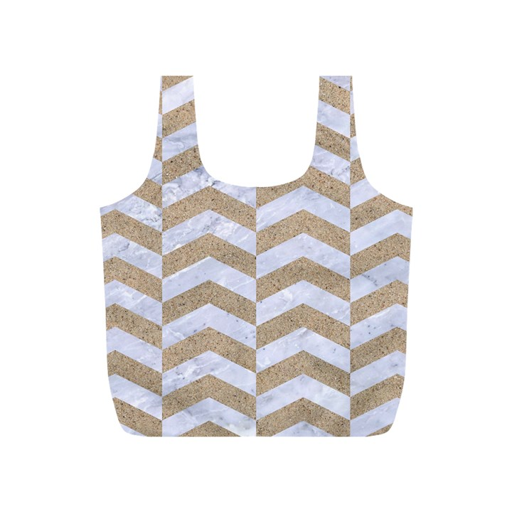 CHEVRON2 WHITE MARBLE & SAND Full Print Recycle Bags (S)
