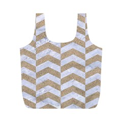 Chevron2 White Marble & Sand Full Print Recycle Bags (m)