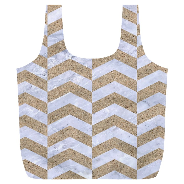 CHEVRON2 WHITE MARBLE & SAND Full Print Recycle Bags (L)