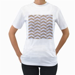 Chevron2 White Marble & Sand Women s T Shirt (white)