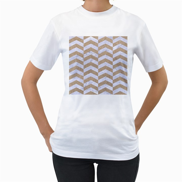 CHEVRON2 WHITE MARBLE & SAND Women s T-Shirt (White)