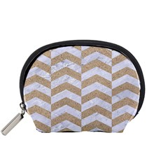 Chevron2 White Marble & Sand Accessory Pouches (small)