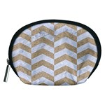 CHEVRON2 WHITE MARBLE & SAND Accessory Pouches (Medium)  Front