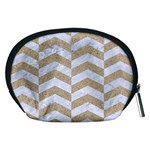CHEVRON2 WHITE MARBLE & SAND Accessory Pouches (Medium)  Back