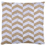 CHEVRON2 WHITE MARBLE & SAND Large Flano Cushion Case (One Side) Front
