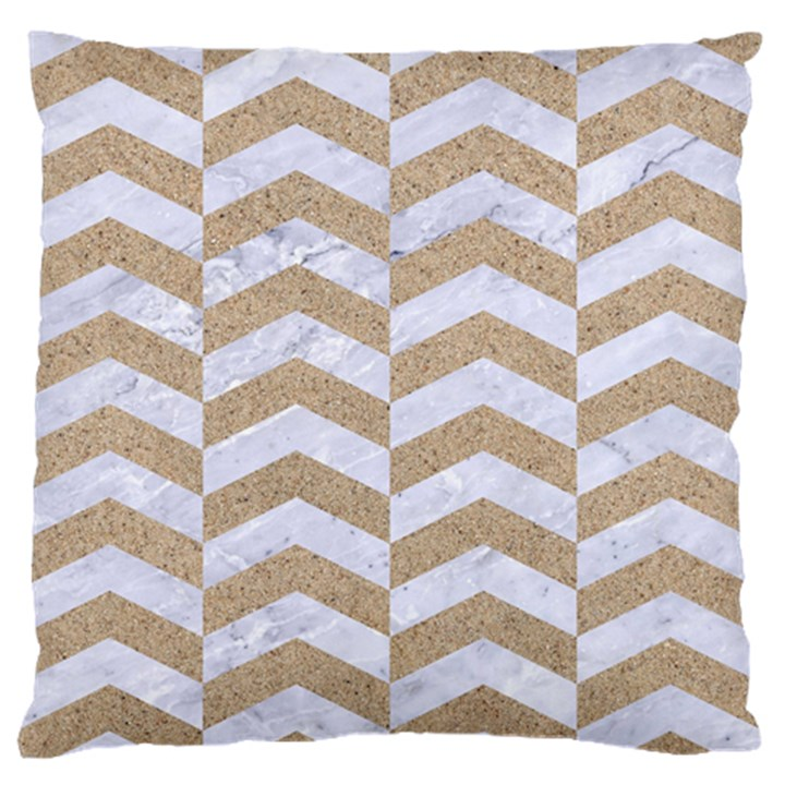CHEVRON2 WHITE MARBLE & SAND Large Flano Cushion Case (One Side)