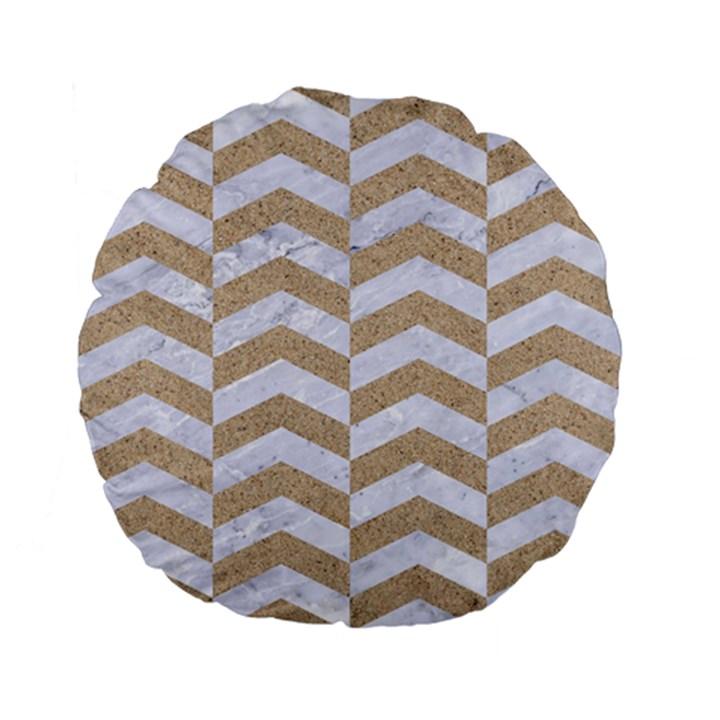 CHEVRON2 WHITE MARBLE & SAND Standard 15  Premium Flano Round Cushions
