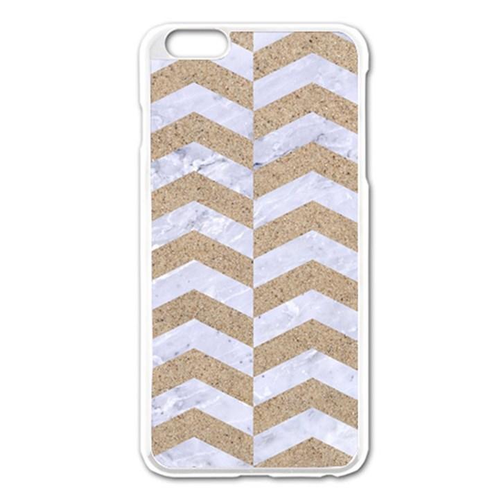 CHEVRON2 WHITE MARBLE & SAND Apple iPhone 6 Plus/6S Plus Enamel White Case